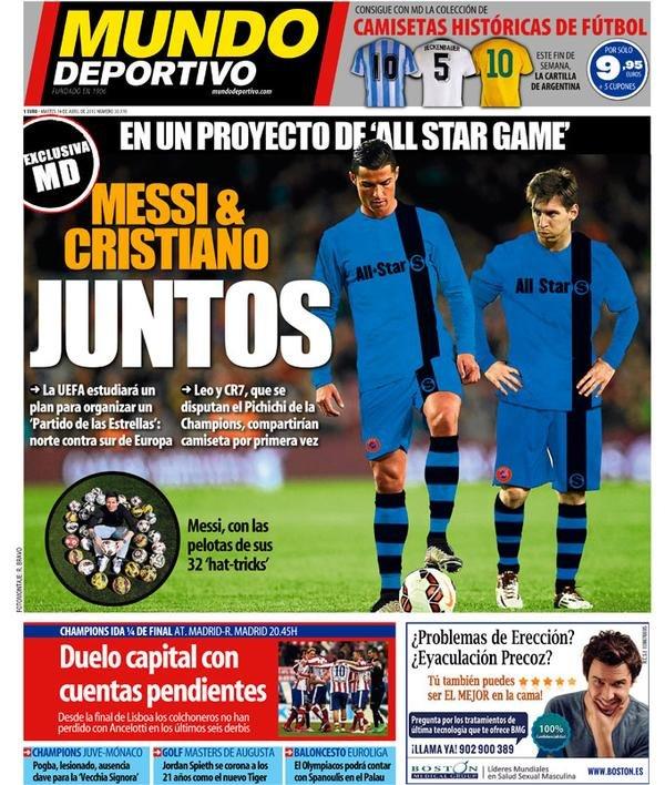 MD : الـUEFA يريد تنظيم مباراة نجوم أوربا الشرق x الغرب مما يضع #كرستيانو و #ميسي بنفس الفريق #برشلونة #ريال_مدريد