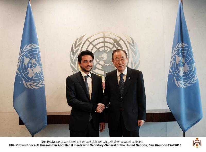 سمو الأمير الحسين بن عبدالله الثاني ولي العهد يلتقي أمين عام الأمم المتحدة، بان كي مون #AlHusseinUNSC #الحسين_في_مجلس_الأمن