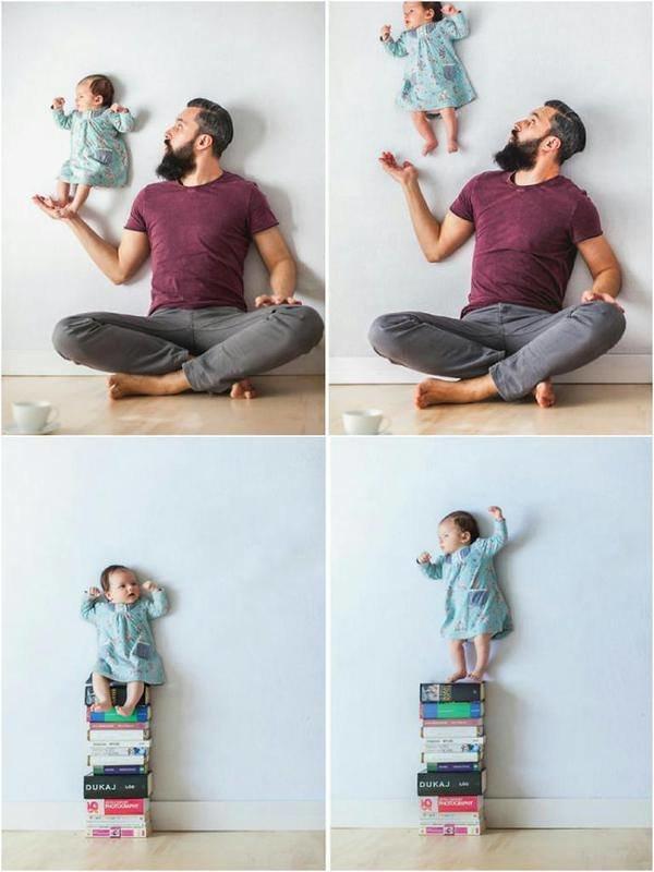 آب يلتقط صور مع طفلة حديثة الولاده آمنه وبدون تأثيرات الفوتوشوب بأفكار جميله #غرد_بصور #ابداع صوره رقم 2