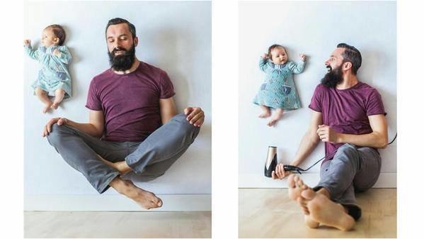 آب يلتقط صور مع طفلة حديثة الولاده آمنه وبدون تأثيرات الفوتوشوب بأفكار جميله #غرد_بصور #ابداع صوره رقم 3