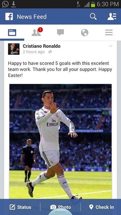 #كريستيانو_رونالدو عبر صفحته الرسميه ب#الفيسبوك سعيد بتسجيلي 5 أهداف هذا عمل جماعي ممتاز #ريال_مدريد #كوره
