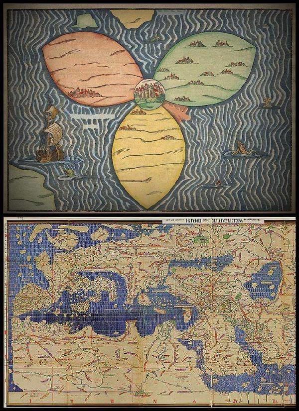 بالأعلى خريطة رسمها الأوروبيون للعالم عام 1581م، و بالأسفل خريطة رسمها المسلمون عام 1154م. أي قبلها بأكثر من 4 قرون