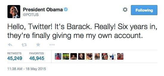 اوباما يطلق أول تغريدة على تويتر من حسابه الشخصي @potus #تويتر