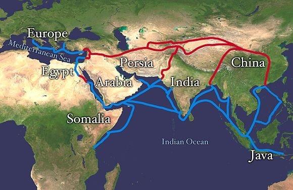 مسار طريق الحرير ال#قديم للتجارة