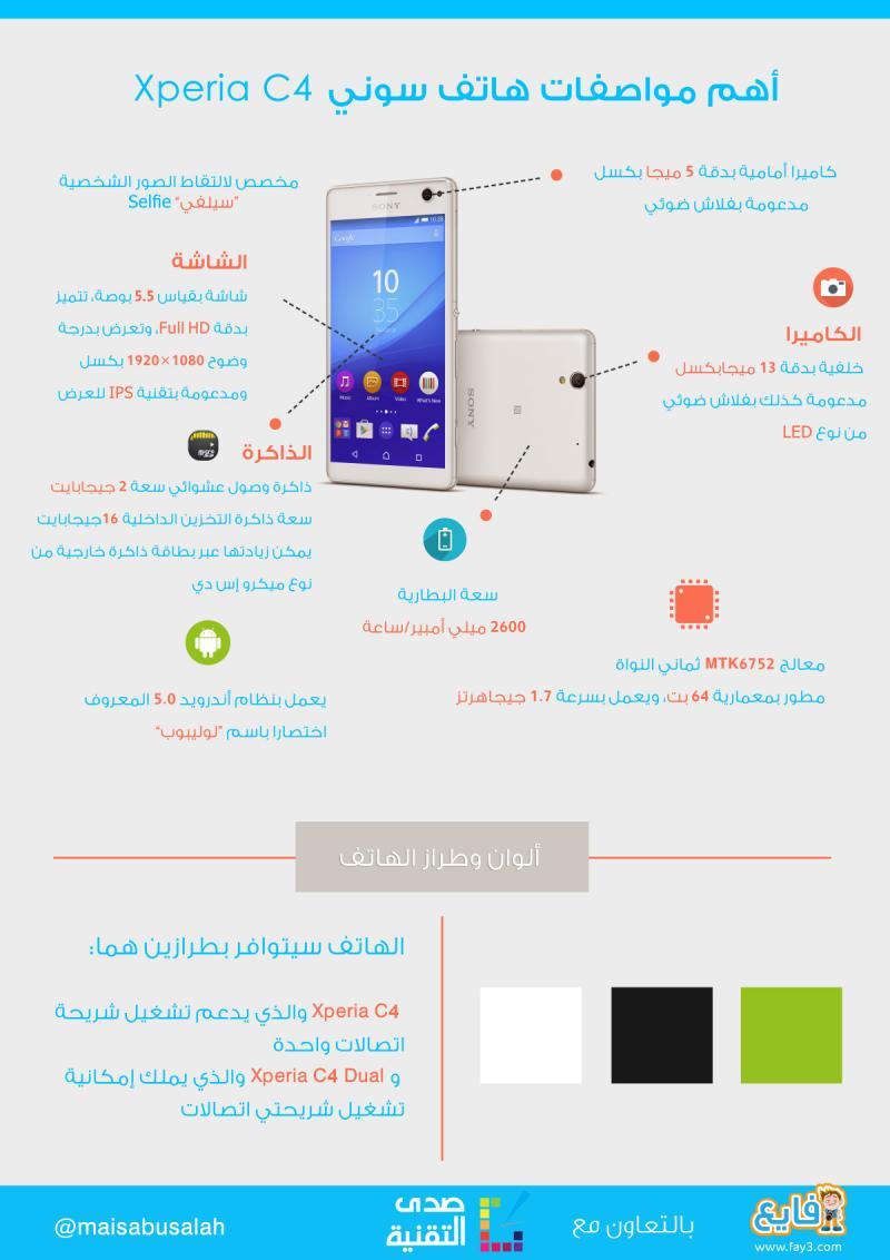 #انفوجرافيك مواصفات هاتف سوني اكسبيريا سي4 Sony Xperia C4