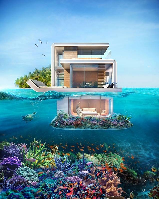 مشروع دبي القادم .. منازل عائمة طابقها السفلي تحت الماء بدون ستائر .. لا ترى منها إلا الأسماك وزرقة البحر صوره1