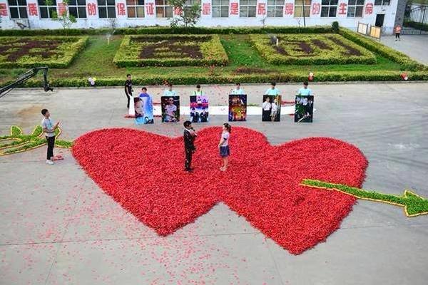 أراد دو زايوانغ طلب الزواج من حبيبته بطريقة مميزة صنع لها قلبين كبيرين من 99،999 حبة فلفل أحمر