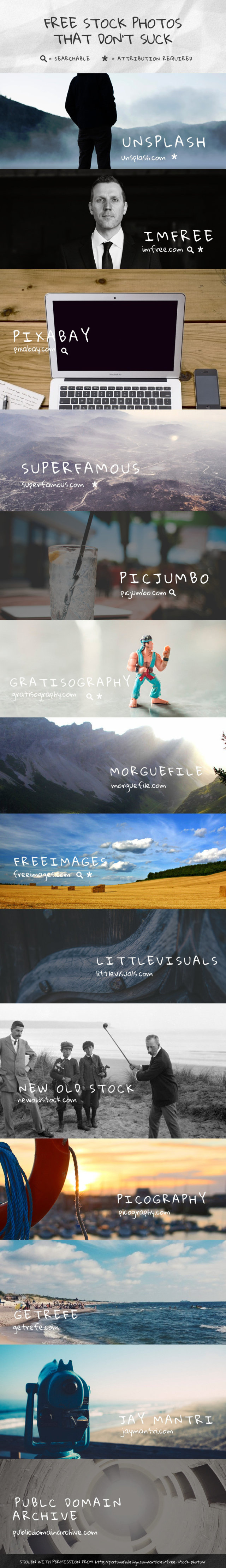 Fourteen Websites You Can Find FREE Stock Photos That Dont Suck #Infographic