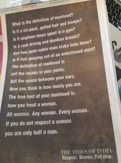 Manhood definition as per Times of #India