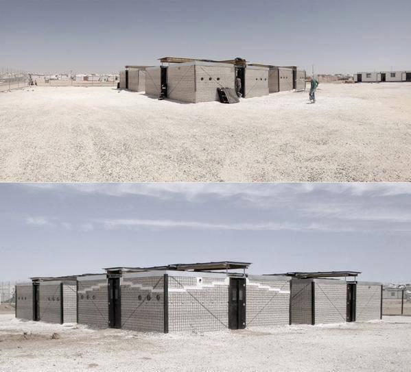 بيوت كاملة قليلة التكلفة تبنى بالحصى في مخيمات اللاجئين في الزعتري - صورة 4