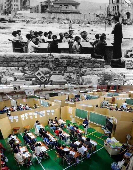 لا شيء يوقف التعليم في #اليابان صورتين واحدة بعد هيروشيما والثانية بعد تسونامي