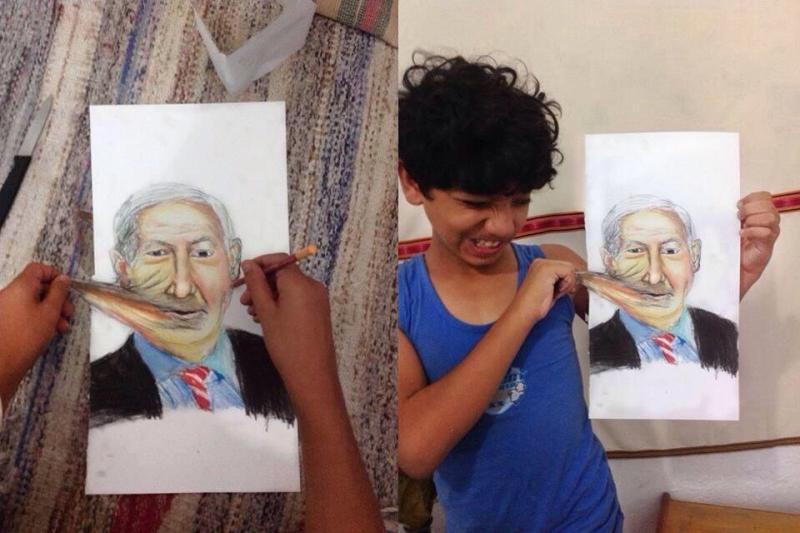 محمد قريقع طفل من #غزة يرسم نتنياهو وينتفم منه بطريقته