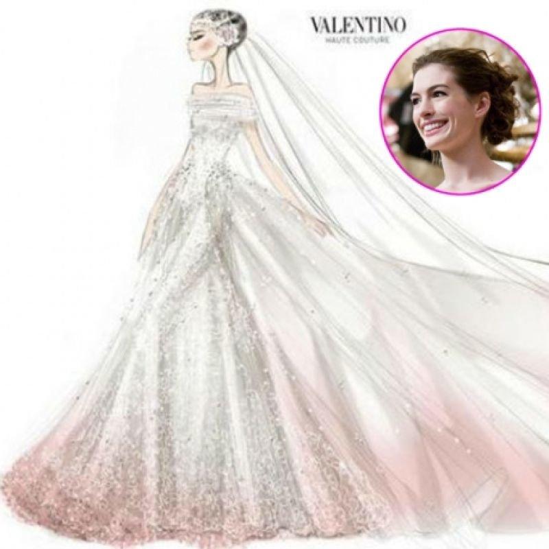 هاثاواي اختارت فستان زفافها من فالنتينو، حيث تخلله في أطرافه تطريزات زهريّة ناعمة.#مشاهير