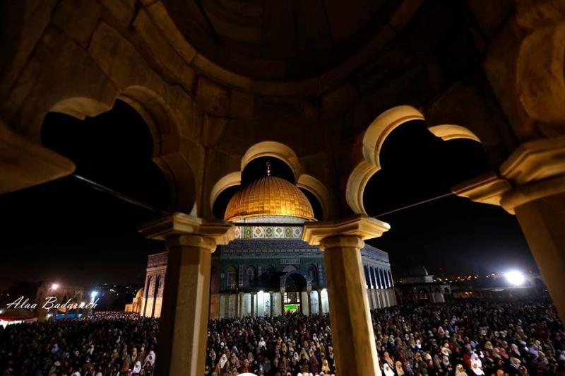 #صوره من المسجد الأقصى المبـارك ليلاً (قبة الصخرة)