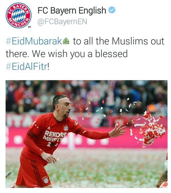 حساب نادي #بايرن :عيد مبارك لجميع المسلمين في كل مكان..نتمنى لكم عيد فطر سعيد.