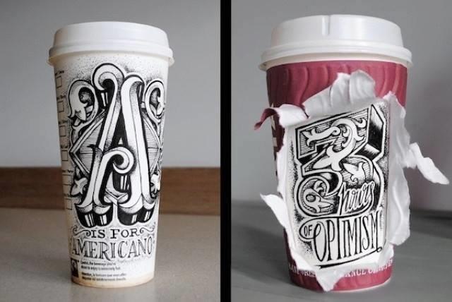 فنان يبدع في الرسم وتحويل أكواب المشروبات إلى لوحة فنية رائعة #غرد_بصورة -صورة2