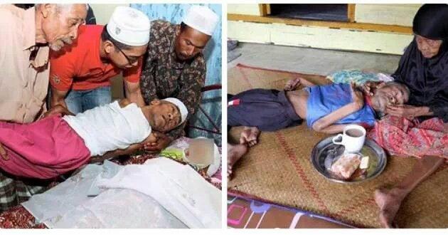 وفاة الأم الماليزية العظيمة ماليه 101 عام بعد أن كانت ترعى ابنها الأصغر، عبدالرحمن 63 عام المعاق منذُ ولادته! #غرد_بصوره