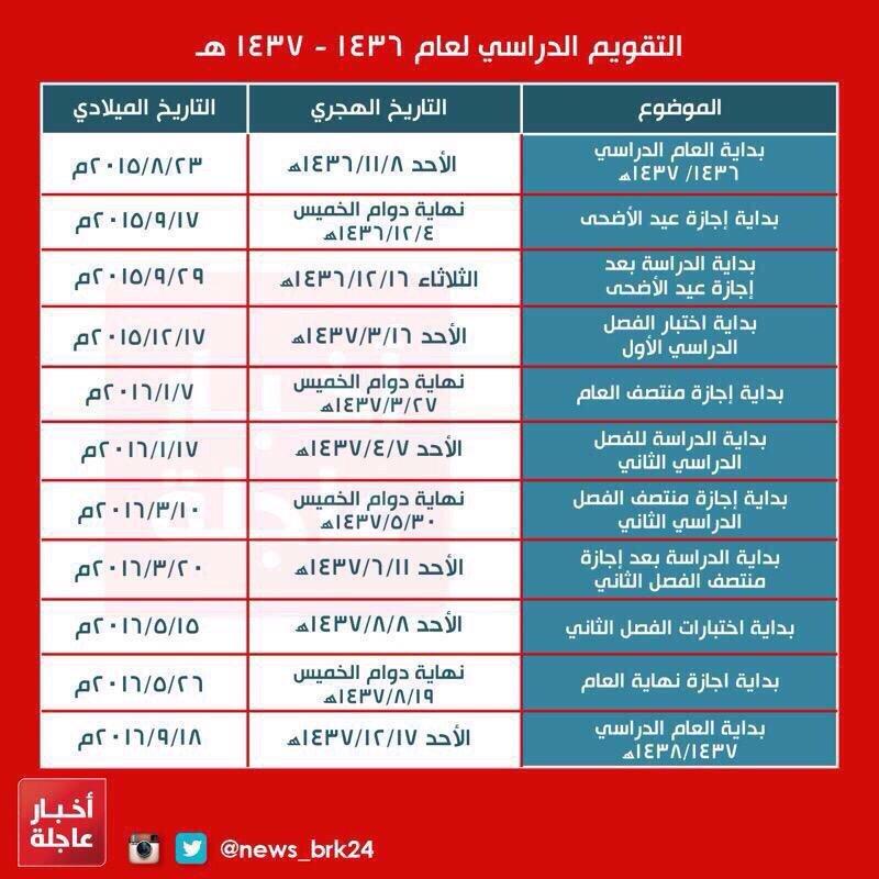 التقويم الدّراسي لعام ١٤٣٦-١٤٣٧ #السعودية
