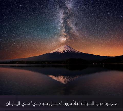 جزء من مجرة درب التبانة ليلاً فوق جبل فوجي، أعلى قمة في #اليابان