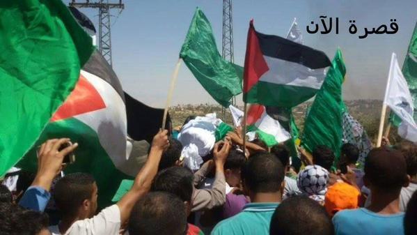 وصول جثمان الشهيد سعد دوابشة إلى مسقط رأسه بلدة دوما في #نابلس. #حرقوا_الرضيع صوره رقم1
