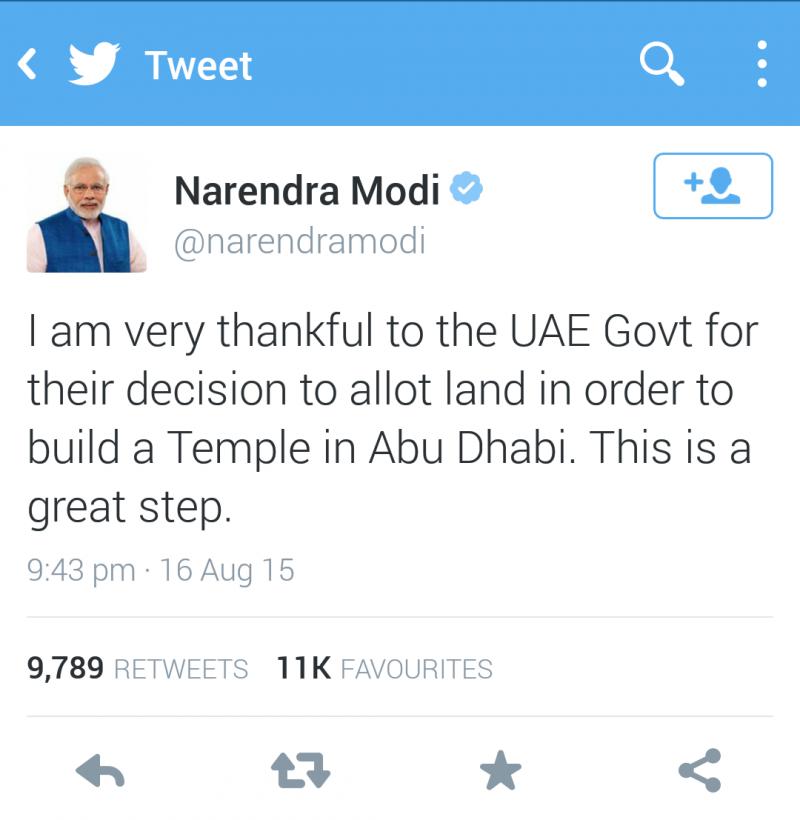 رئيس الوزراء الهندي @narendramodi يشكر حكومة الإمارات على تخصيص قطعة أرض بهدف #بناء_معبد_هندوسي_في_ابوظبي
