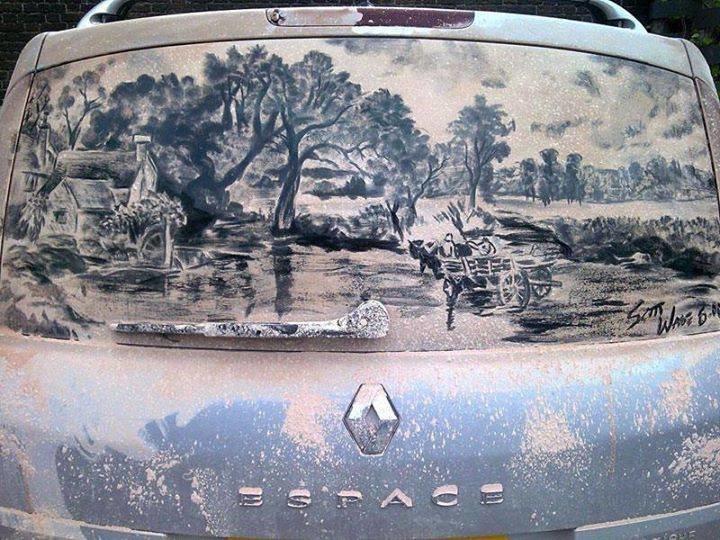 فن الرسم على غبار السيارات #غرد_بصوره صوره رقم 1