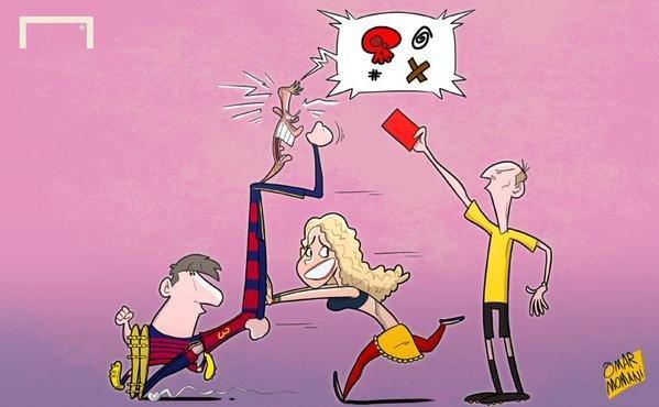 كاريكاتير شاكيرا تهدئ من غضب زوجها بيكيه بعد طرده #برشلونة