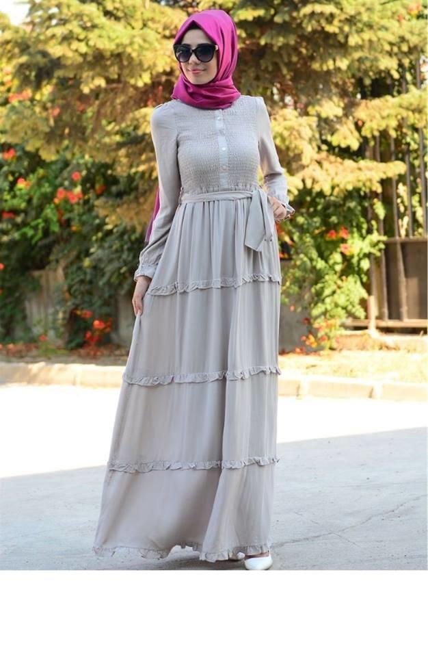 فستان قطن طويل تركي موضه 2016 #ستايل #ازياء #حجاب صوره رقم 5
