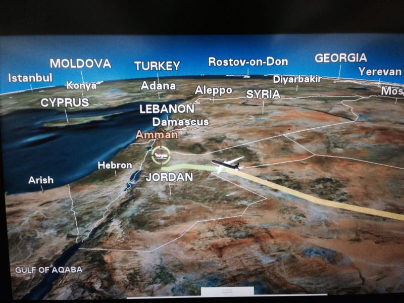 خارطة #الأردن كما تظهر من خلال نظام الخرائط ثلاثية الأبعاد على طيارات الملكية الأردنية