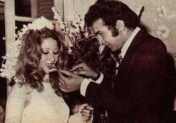 صورة #قديمة ونادرة زفاف #نور_الشريف وبوسي