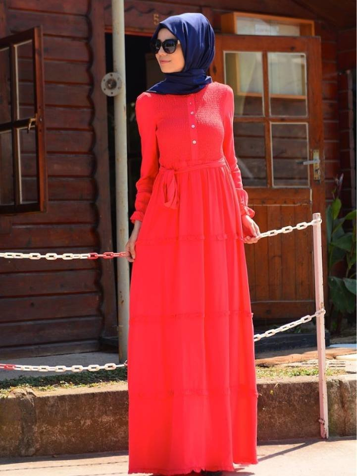 فستان قطن طويل تركي موضه 2016 #ستايل #ازياء #حجاب صوره رقم 3