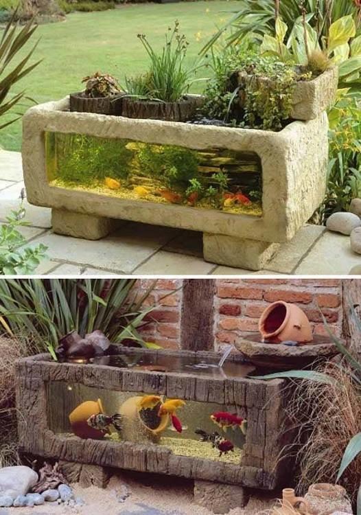 من اجمل تصاميم احواض اسماك الزينة في فناء البيت #غرد_بصوره صوره رقم4
