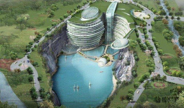 #الصين تبدأ في بناء فندق فخم تحت الارض #غرد_بصوره صوره 1