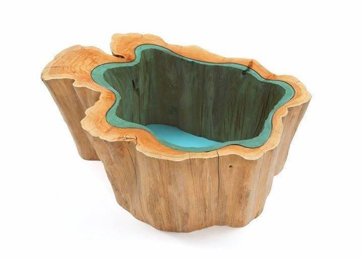 تصميم طاولات خشبية بالزجاج بشكل الانهار والبحيرات #منوعات #غرد_بصوره 3