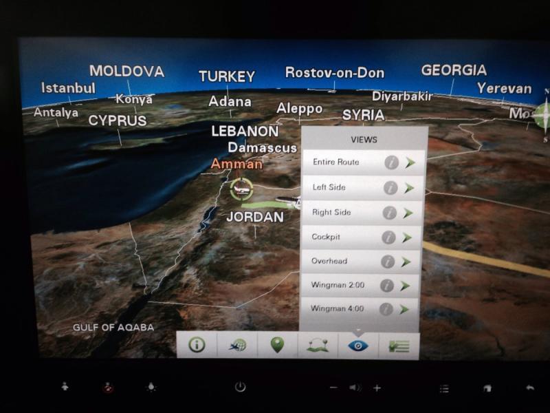 قائمة الكاميرات المتوافرة من نظام الترفيه على طيارات الملكية الأردنية