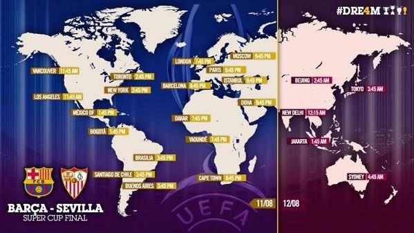 توقيت مباراة برشلونة وإشبيلية حول العالم #برشلونه #كوره