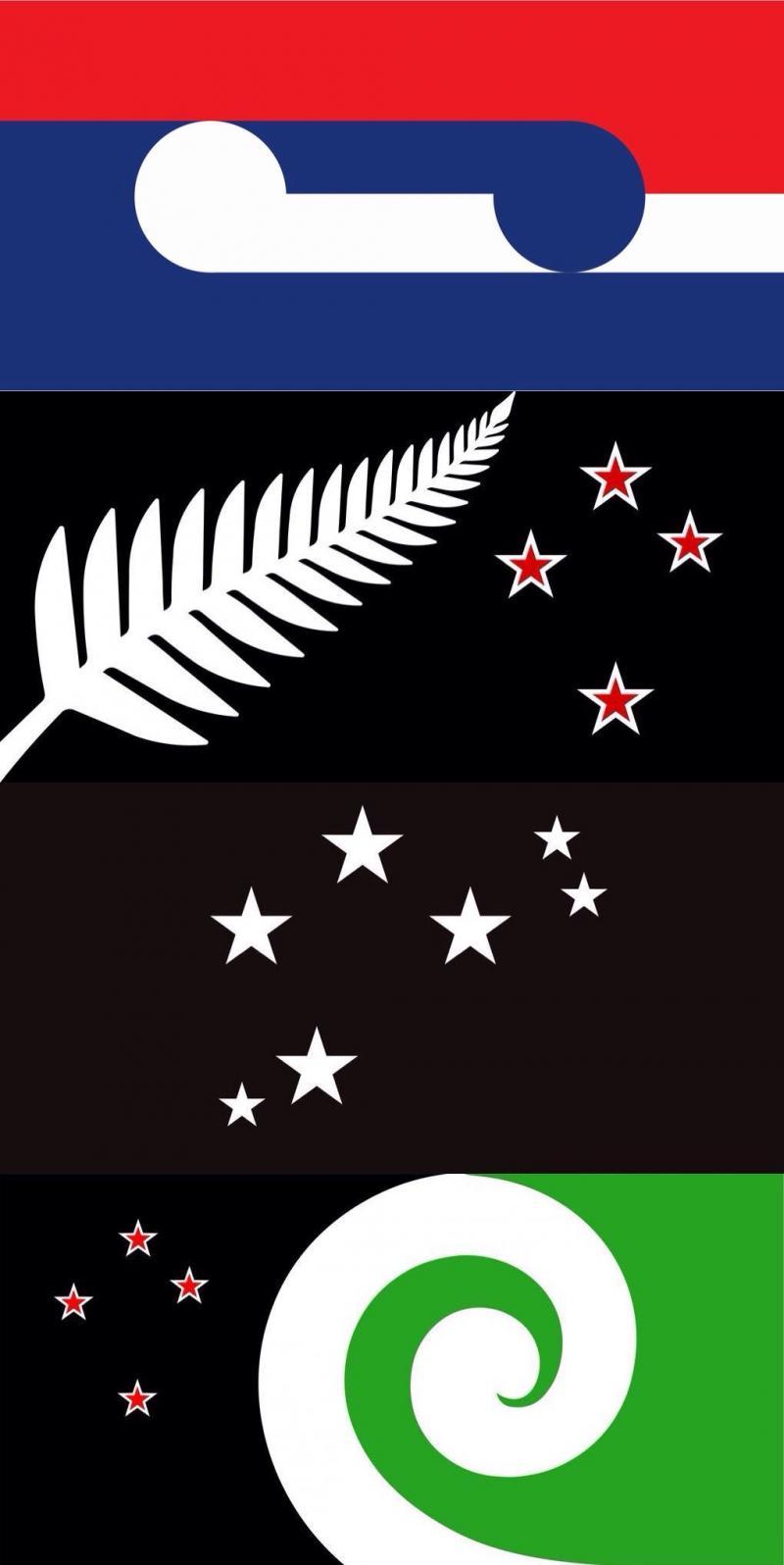التصاميم الأربعة المقترحة لعلم #نيوزيلندا الجديد