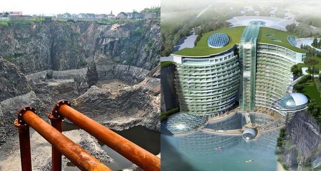 #الصين تبدأ في بناء فندق فخم تحت الارض #غرد_بصوره صوره 4