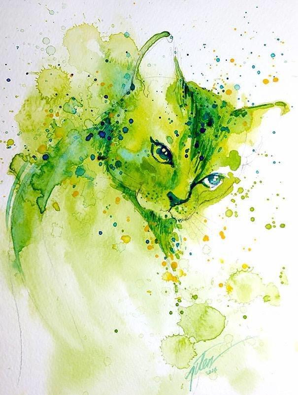 سحر #الألوان_المائية في لوحات الرسام السنغافوري #تيلان_تي #غرد_بصوره 11