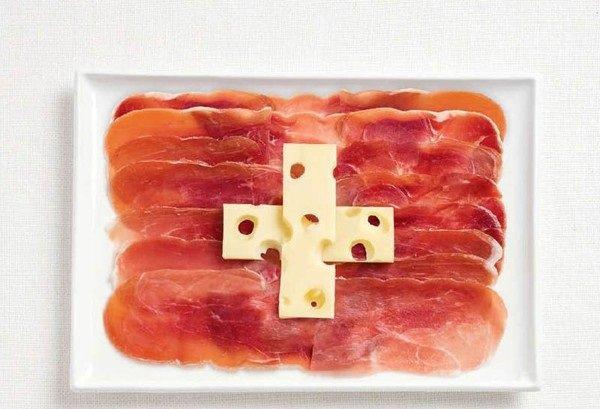 علم #سويسرا لحوم charcuteries وجبن ايمنتال emmental #غرد_بصورة