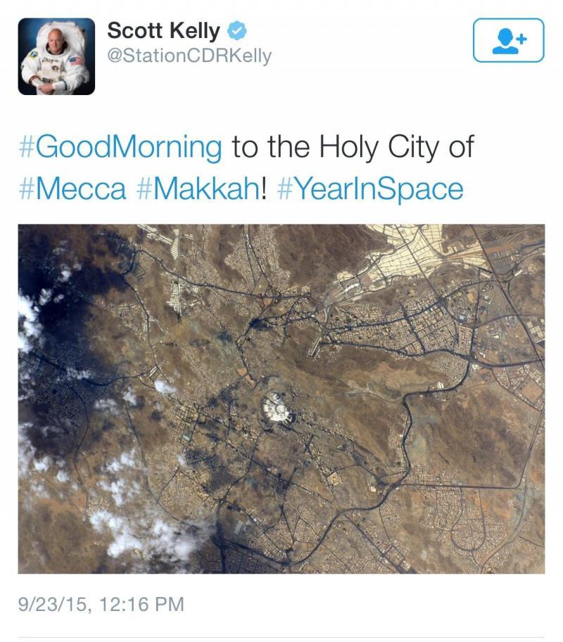 رائد الفضاء سكوت كيلي يغرد بصورة للحجاج في مكة من الفضاء #الحج #الحج_لايف