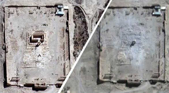 #داعش الارهابية تدمر معبد بل في تدمر بالكامل حسب صورة نشرتها الأمم المتحدة