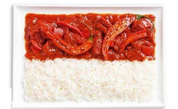 علم #إندونيسيا بلكاري حار وأرز #غرد_بصورة