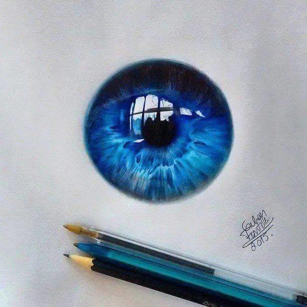 #فنان يبدع برسم #العيون بـ  #الاقلام_الجافه_الملونه صوره 1