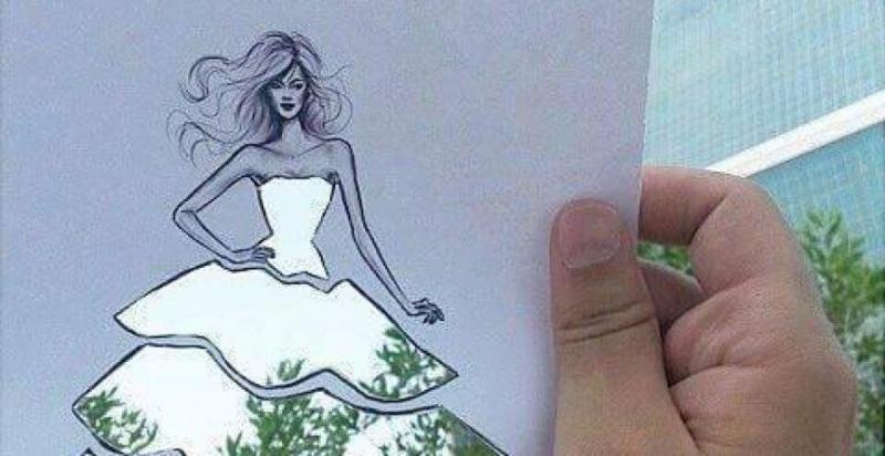 تصميم ازياء بـ  الورق المفرّغ و  الطبيعة -3