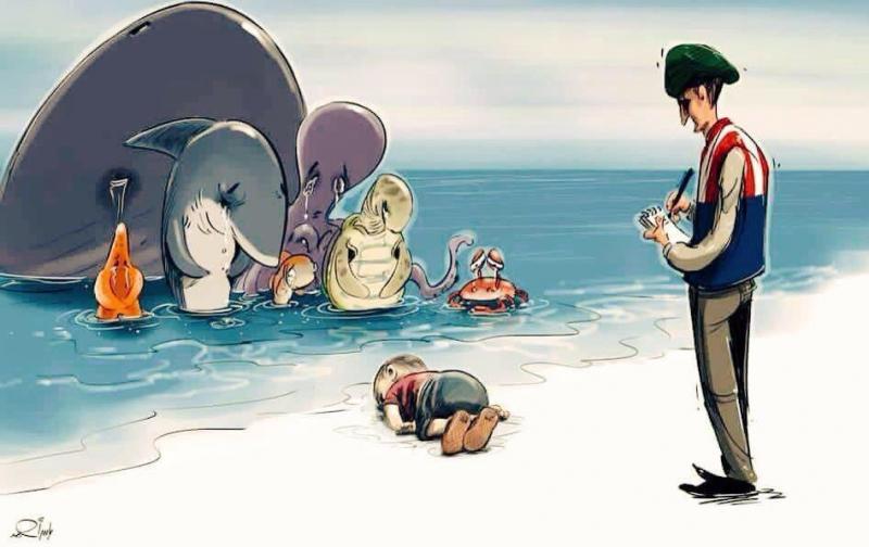 كاريكاتير #غرق_طفل_سوري - المخلوقات البحرية أرحم من البشر