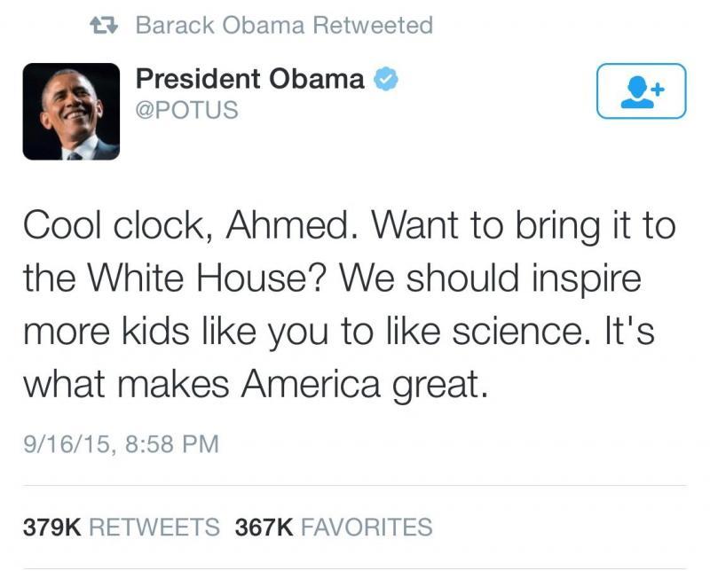 باراك اوباما يوجه دعوة شخصية للطفل أحمد #IStandWithAhmed