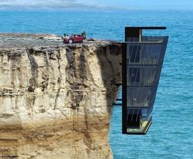 منزل معلق على حافة جبل يطل على المحيط - صورة ٢