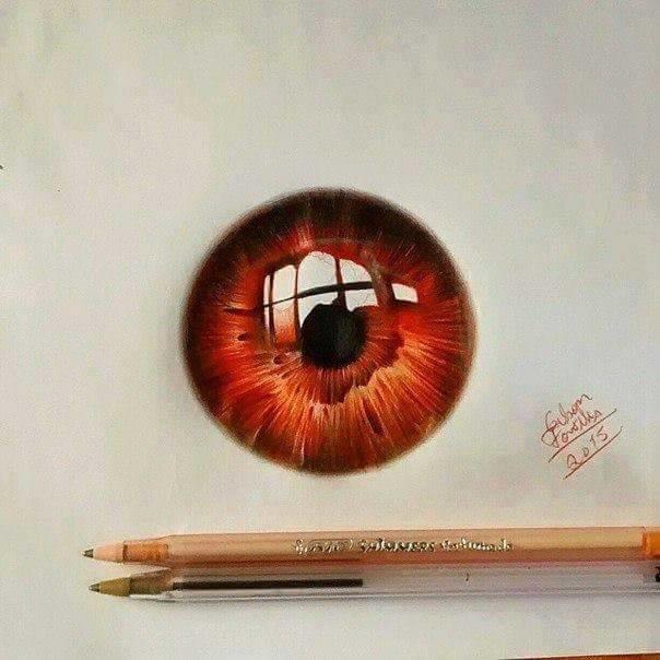 #فنان يبدع برسم #العيون بـ  #الاقلام_الجافه_الملونه صوره 2