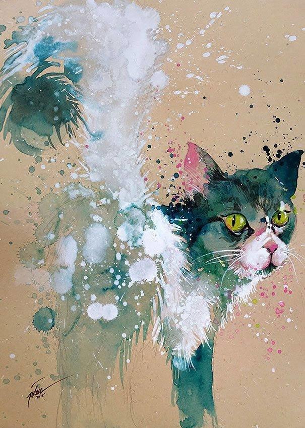 سحر #الألوان_المائية في لوحات الرسام السنغافوري #تيلان_تي #غرد_بصوره 9